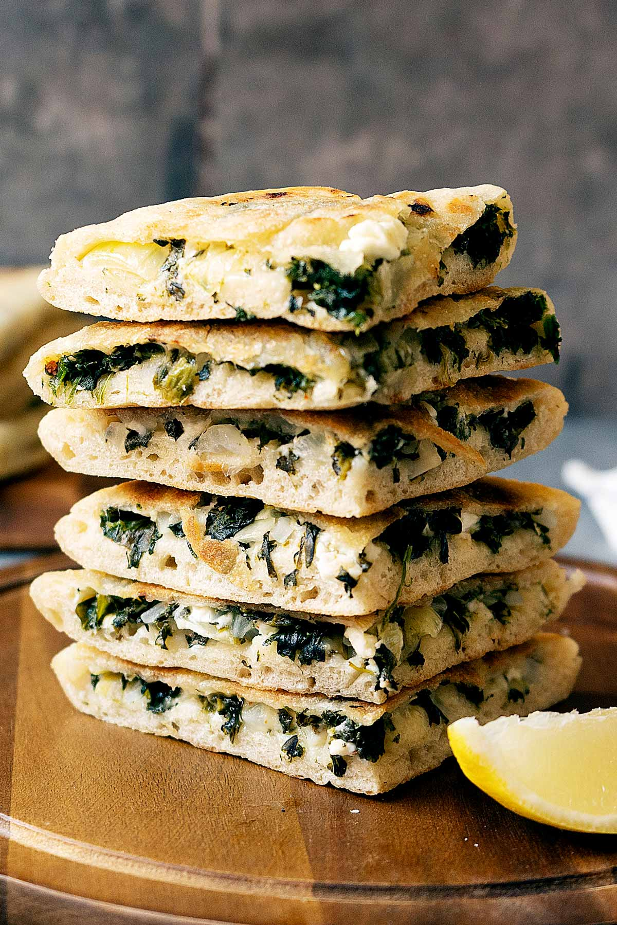 Slices of spinach and feta gozleme stacked