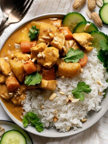 Quick chicken massaman curry in a plate with some rice
