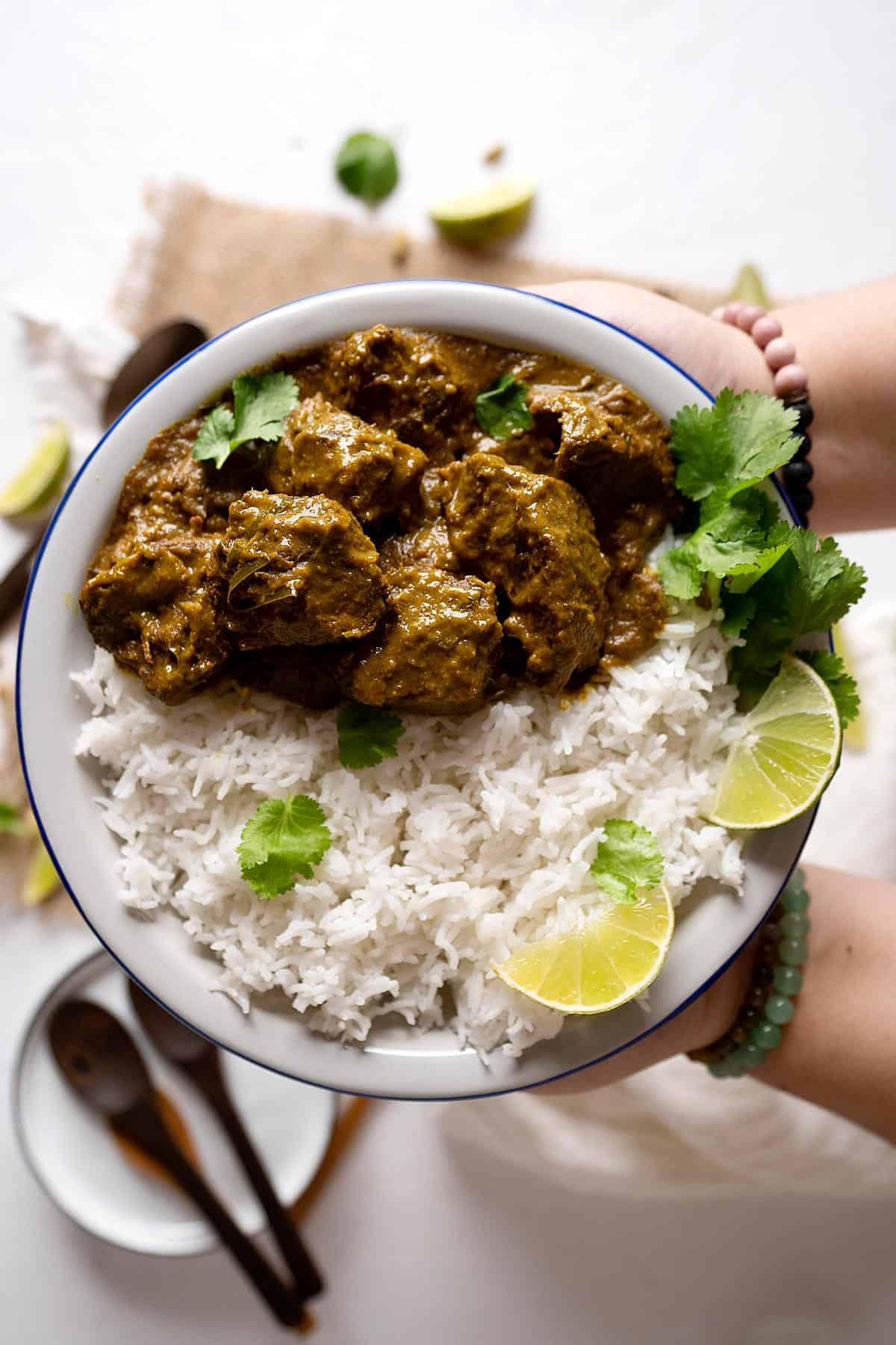un plato servido con curry rendang y arroz blanco.
