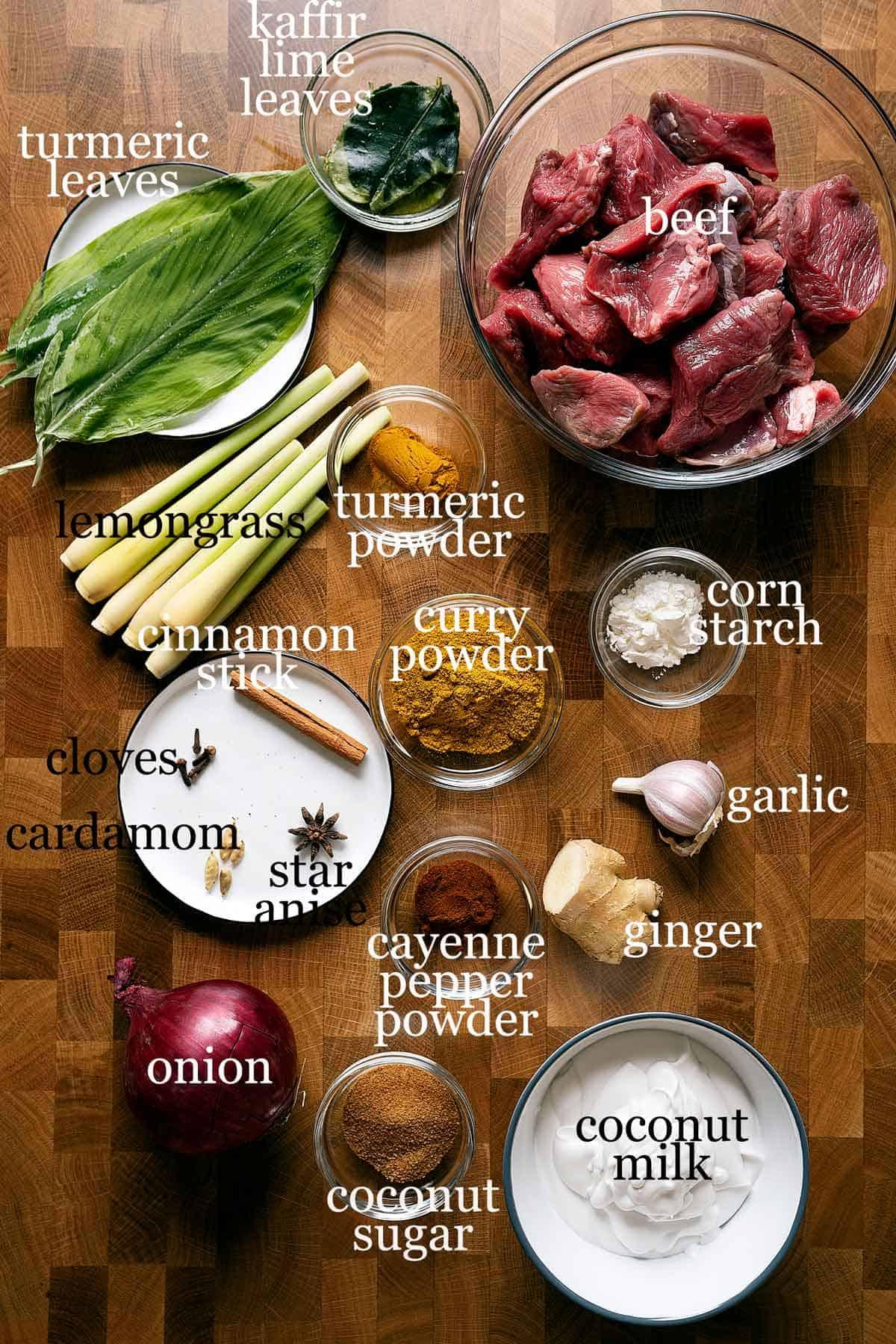beef rendang curry ingredients.