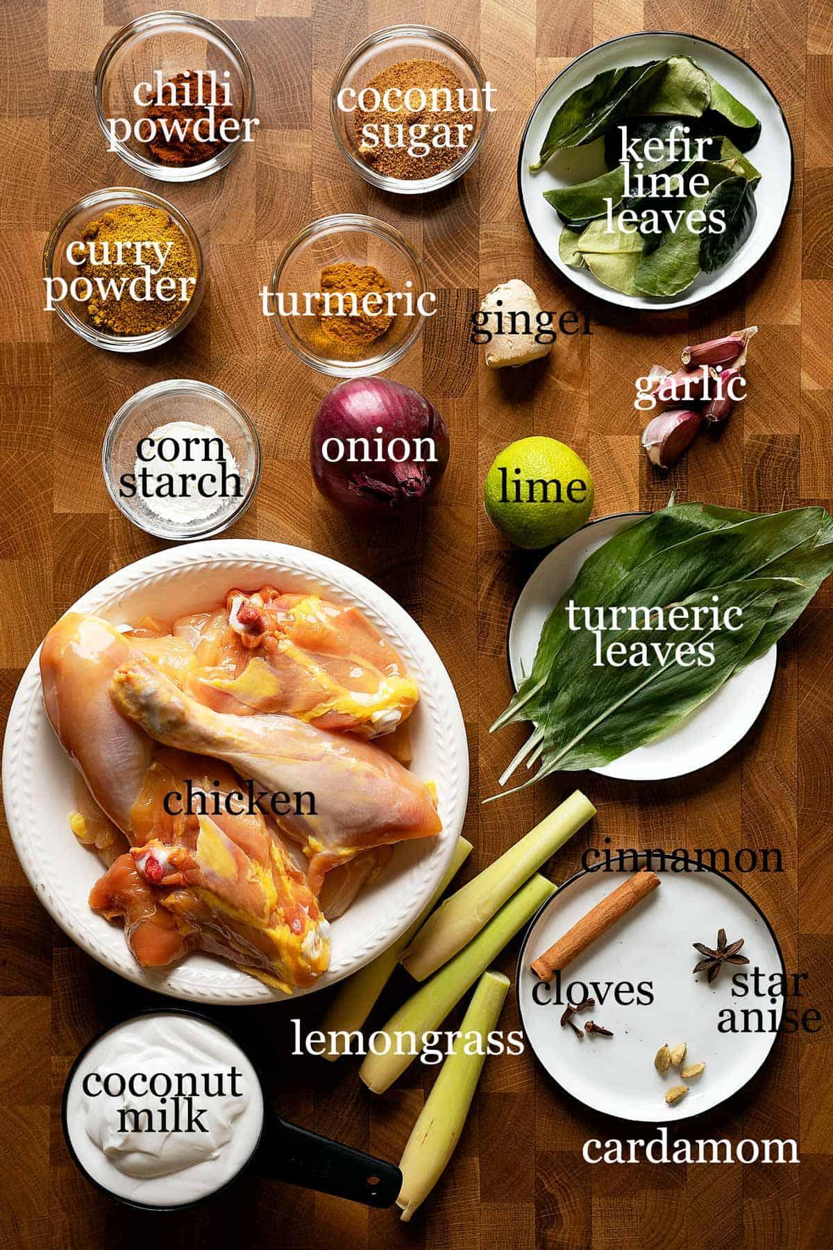 Ingredients to make slow cooker chicken rendang