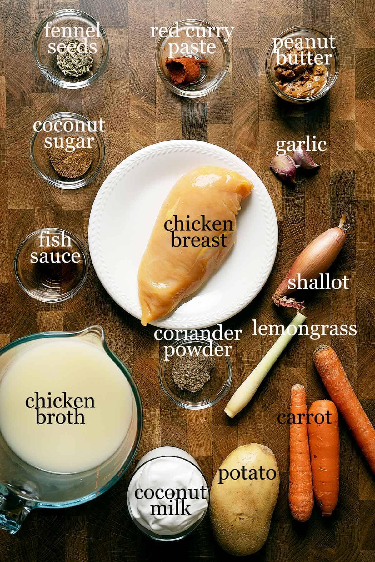 Ingredients to make quick chicken massaman curry.