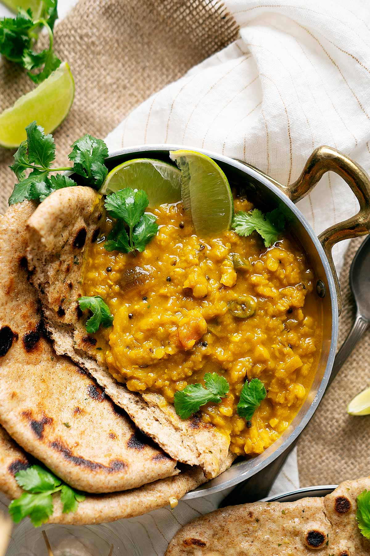 Lentil turmeric curry in a bowl view from top