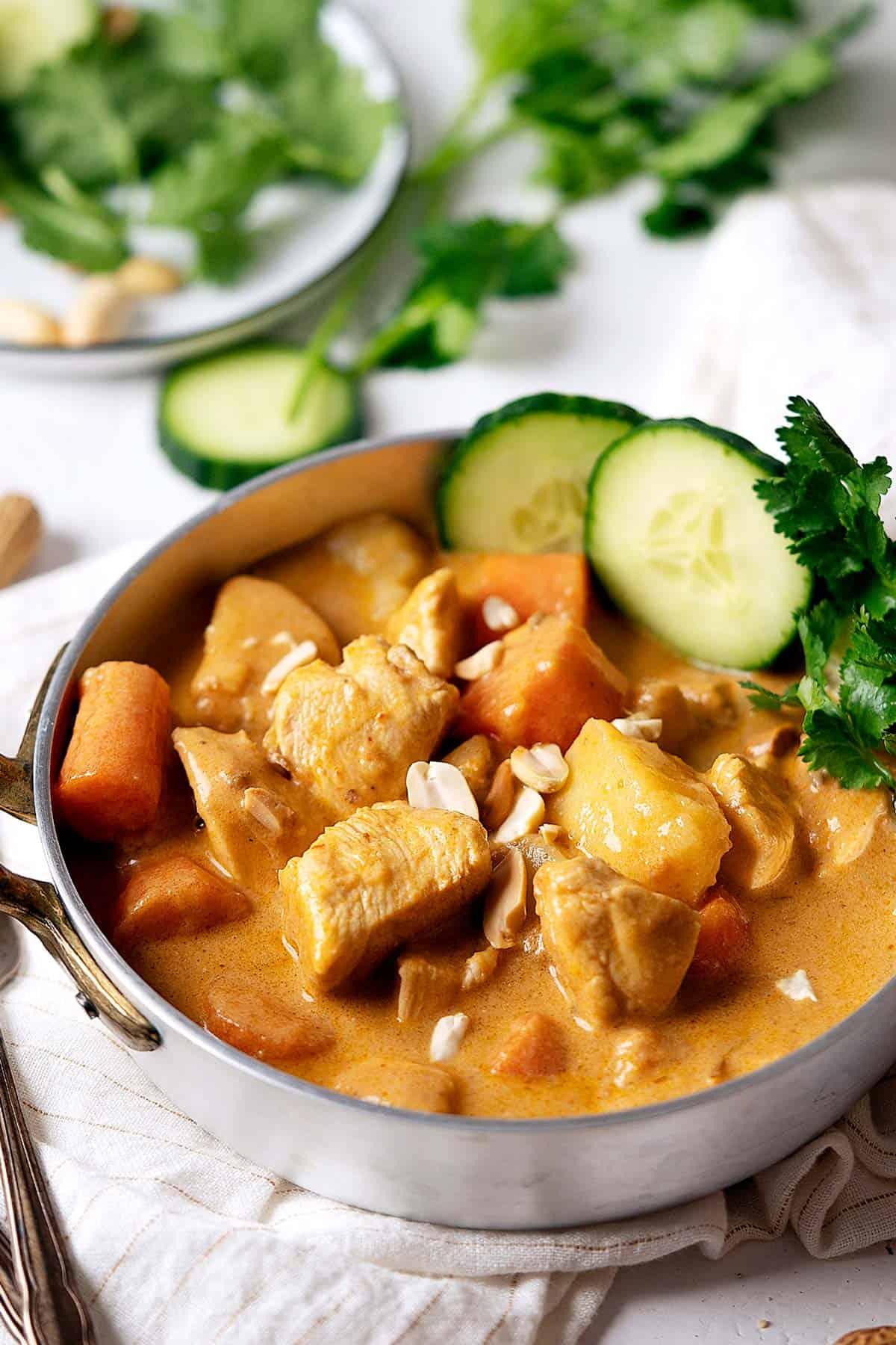 Quick chicken massaman curry in a bowl.