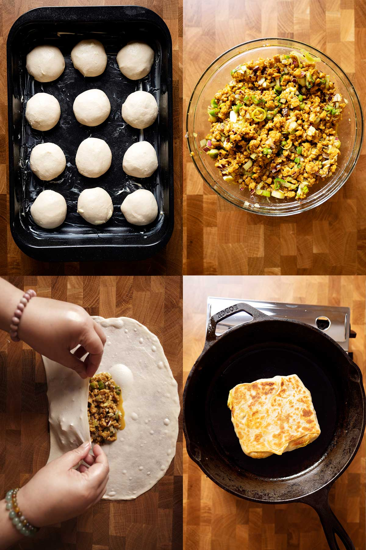 Steps of making chicken murtabak flatbreads