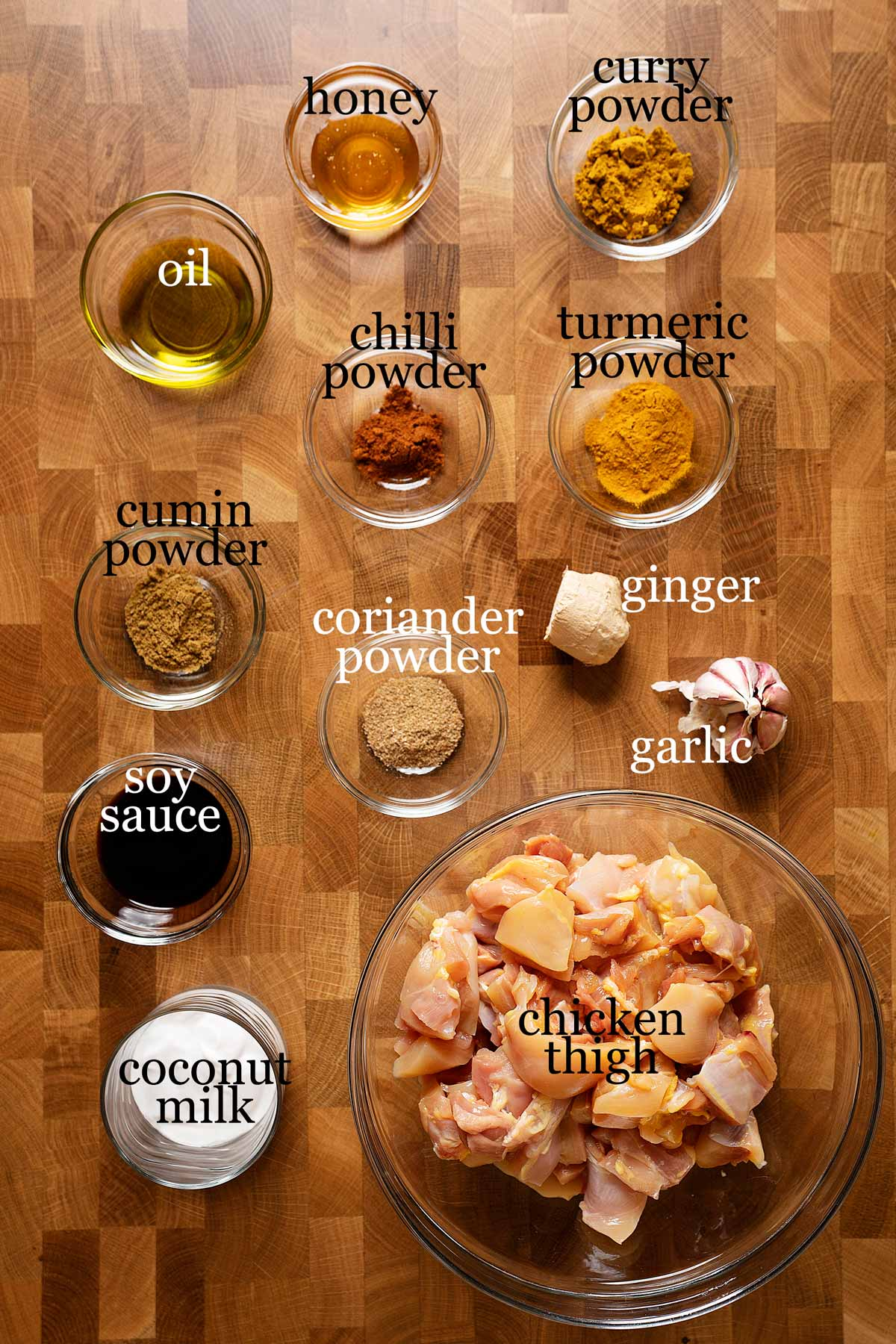 Ingredients to make easy chicken satay
