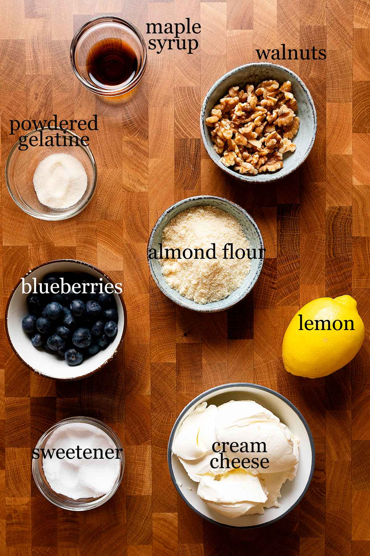 ingredients for healthy blueberry cheesecake.