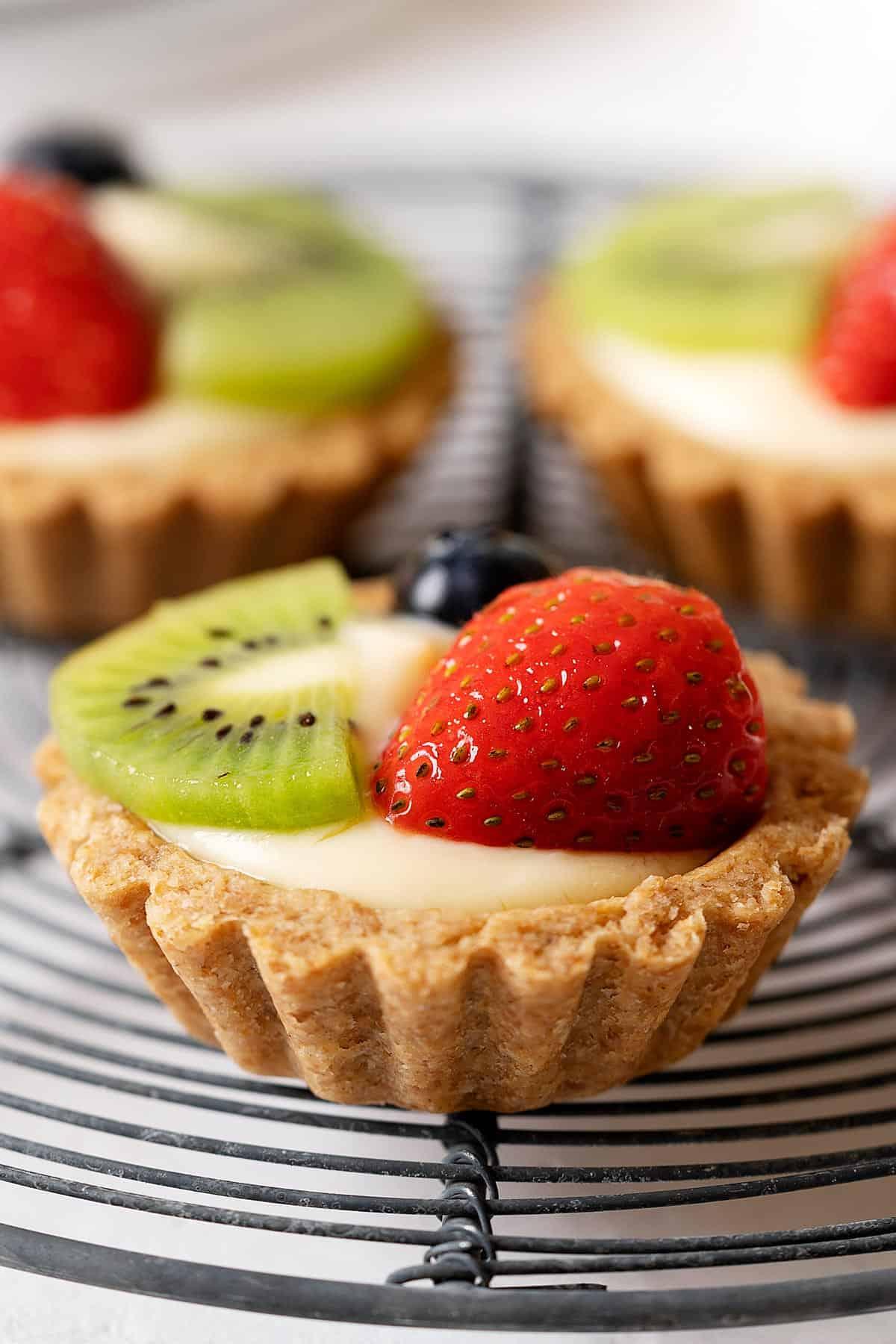 Close up of healthier fruit tart