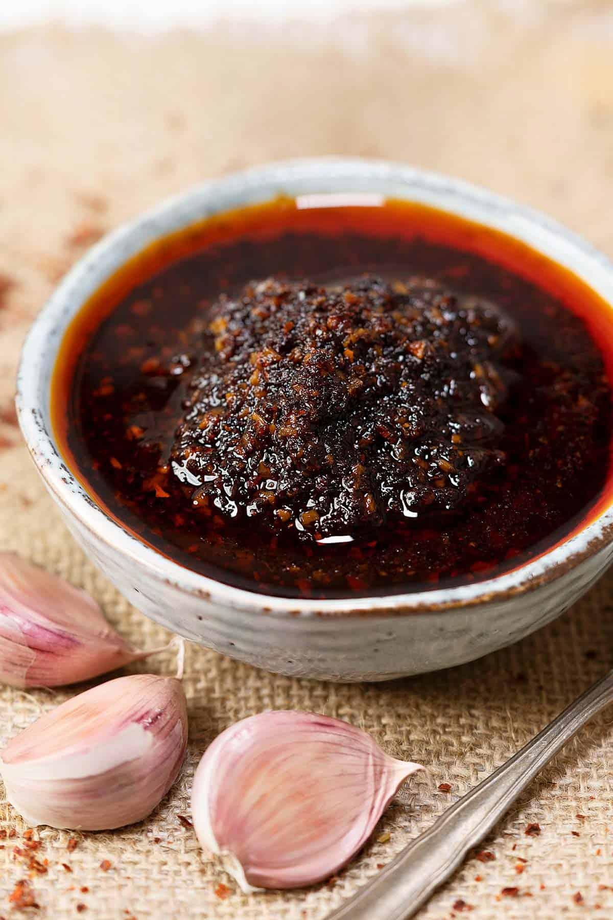 Garlic chili oil in a bowl