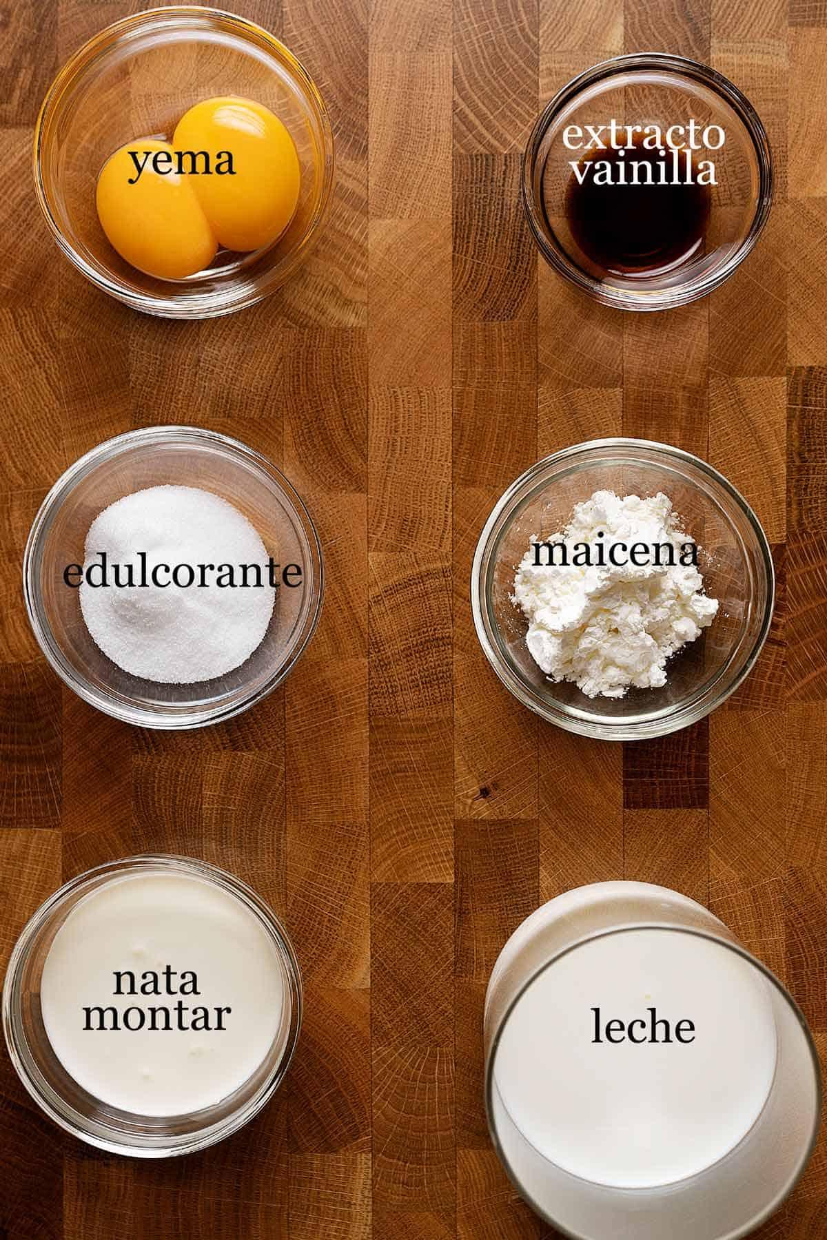 ingredientes para crema pastelera.