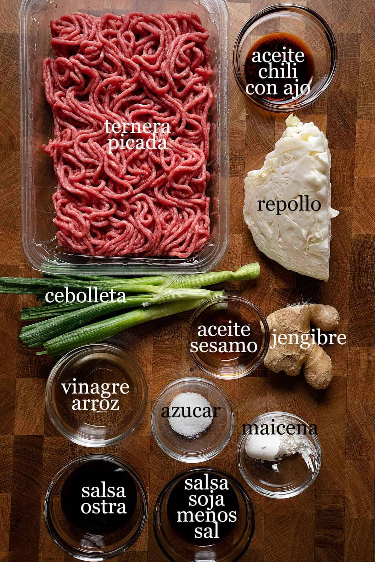 ingredientes para wontons en salsa de chile con ajo.