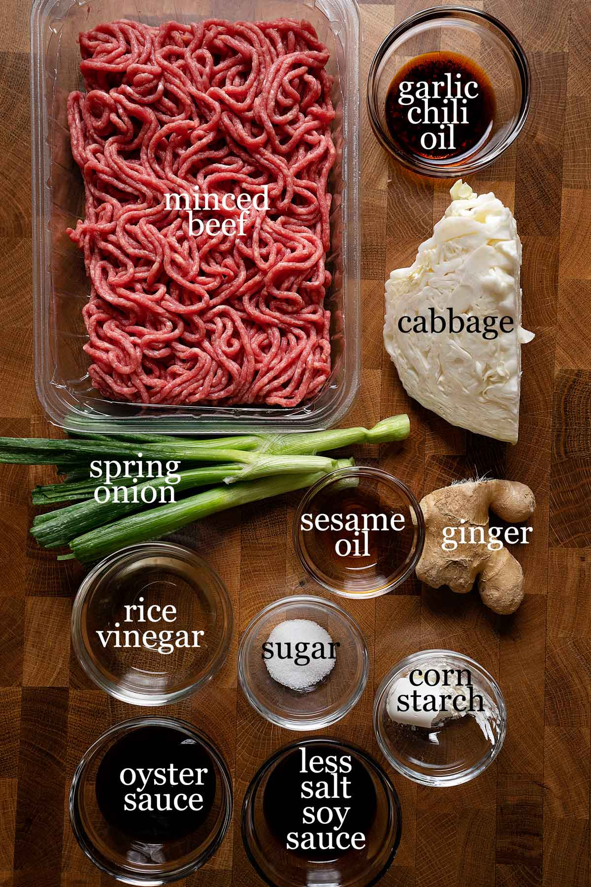 Ingredients to make wonton in garlic chili oil