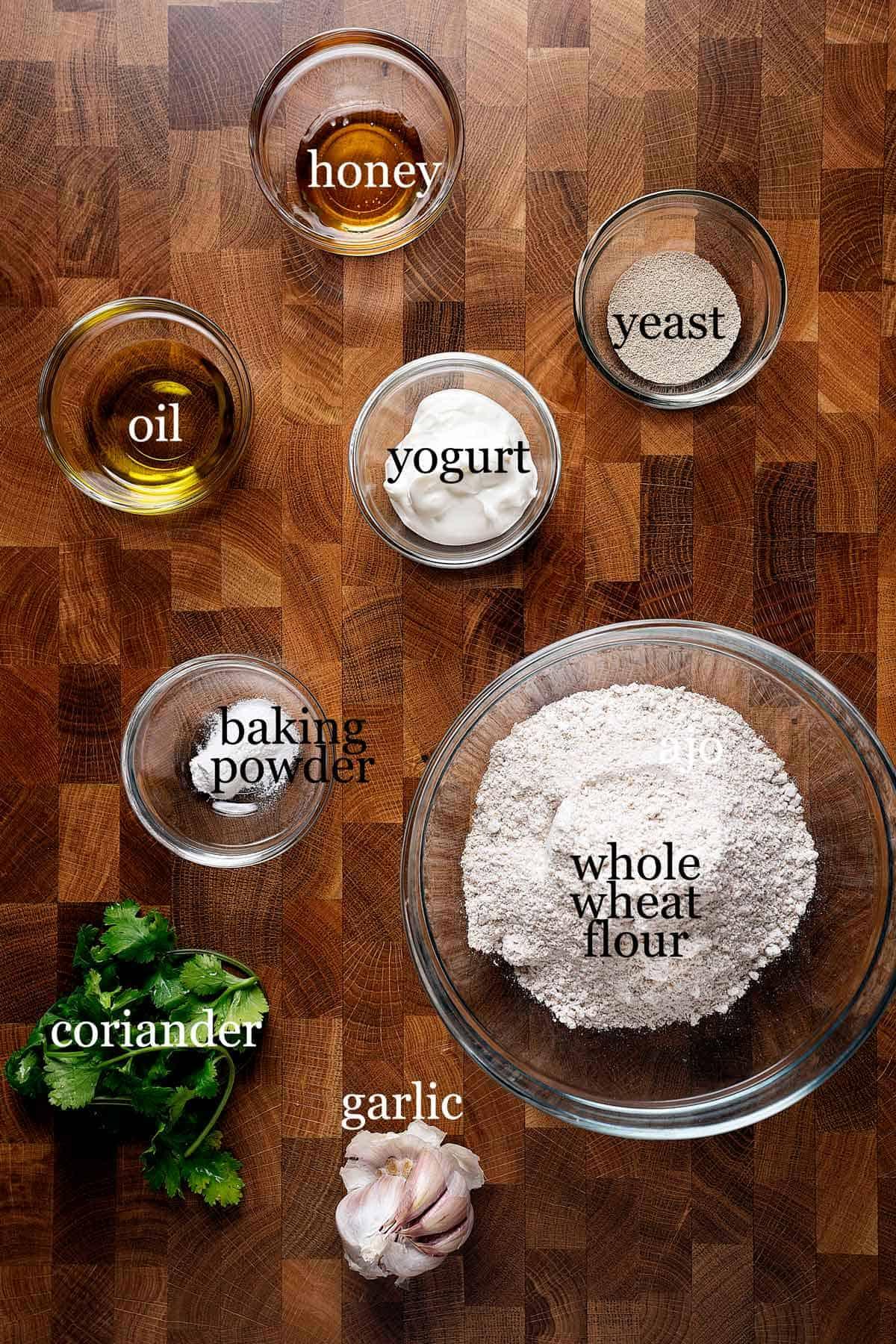 Ingredients to make whole wheat garlic naan