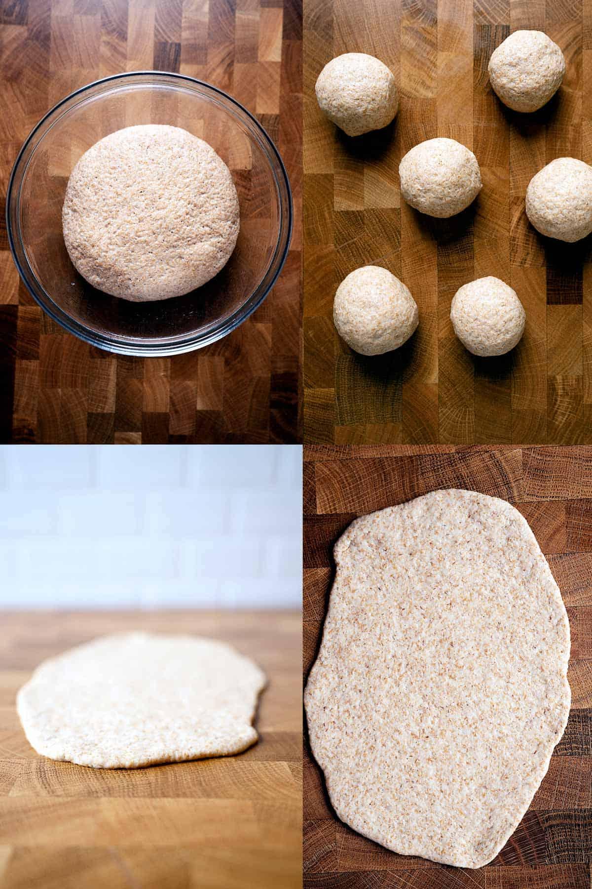 Steps of making whole wheat garlic naan