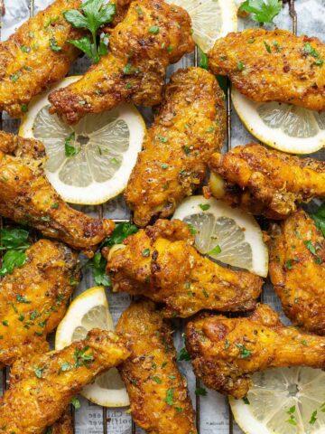 Crispy baked lemon pepper chicken wings
