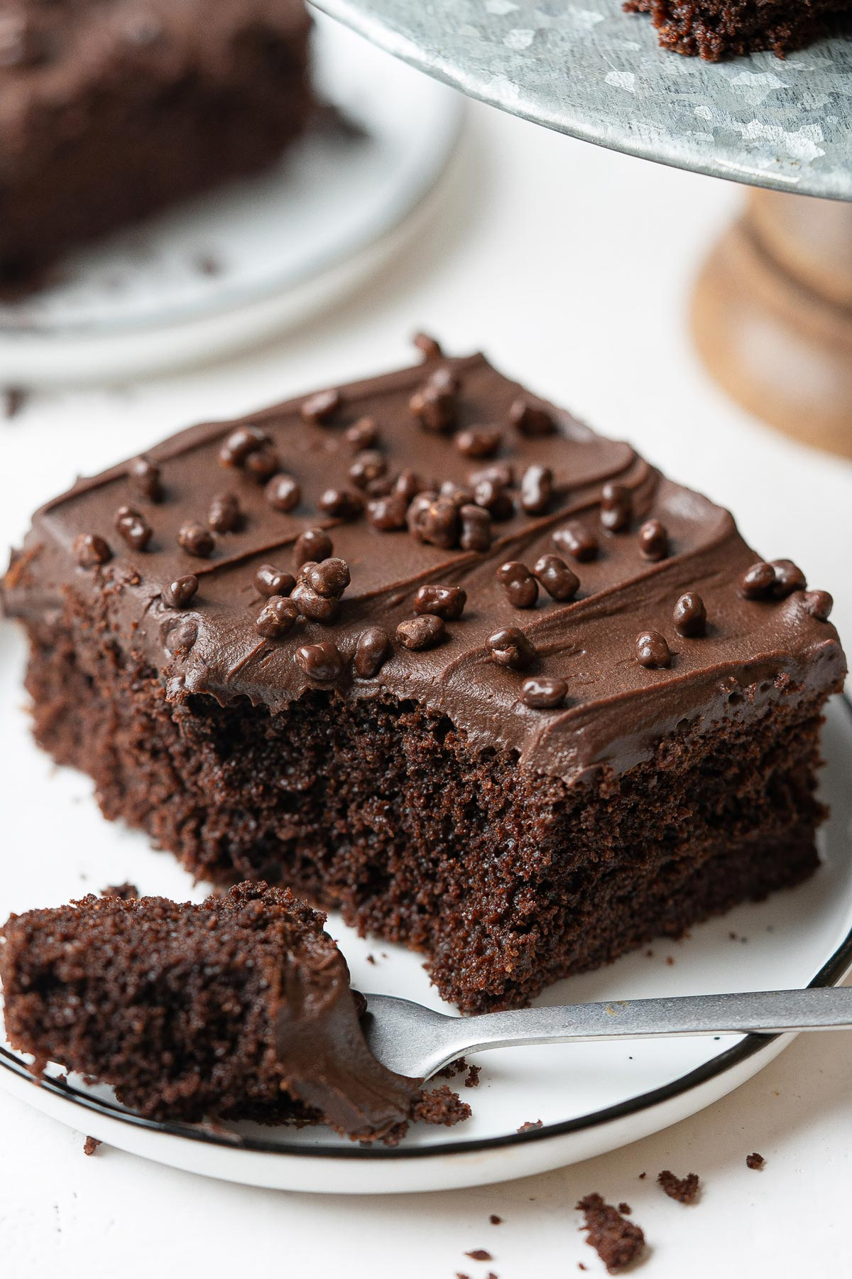A piece of healthy chocolate sheet cake eaten in a plate