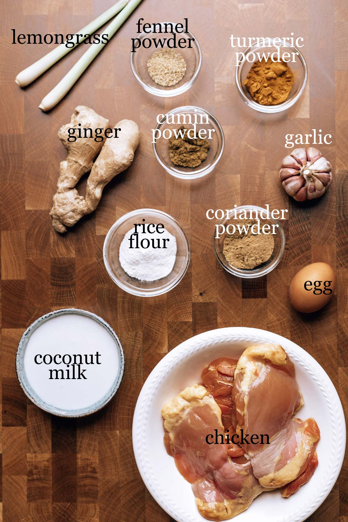 Ingredients to make spiced fried chicken