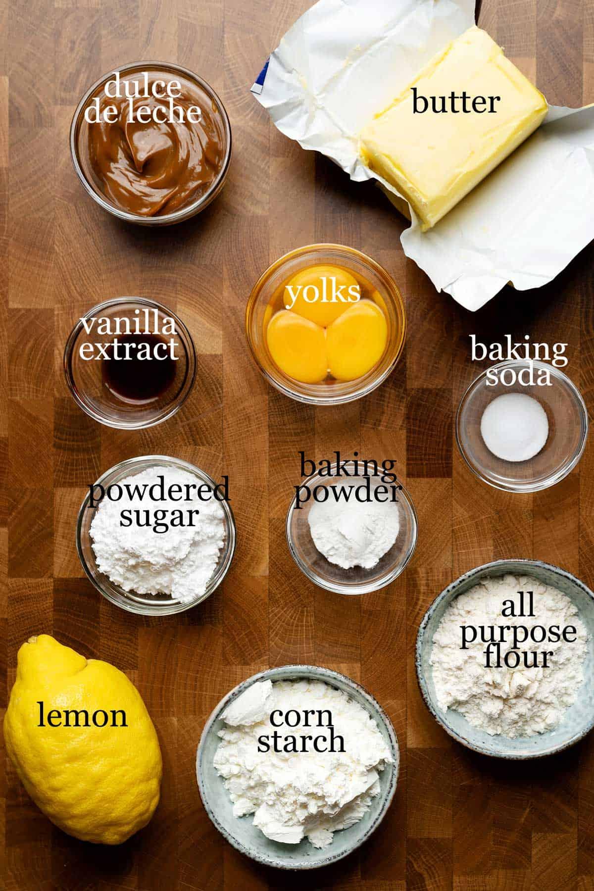Ingredients to make Argentine alfajores