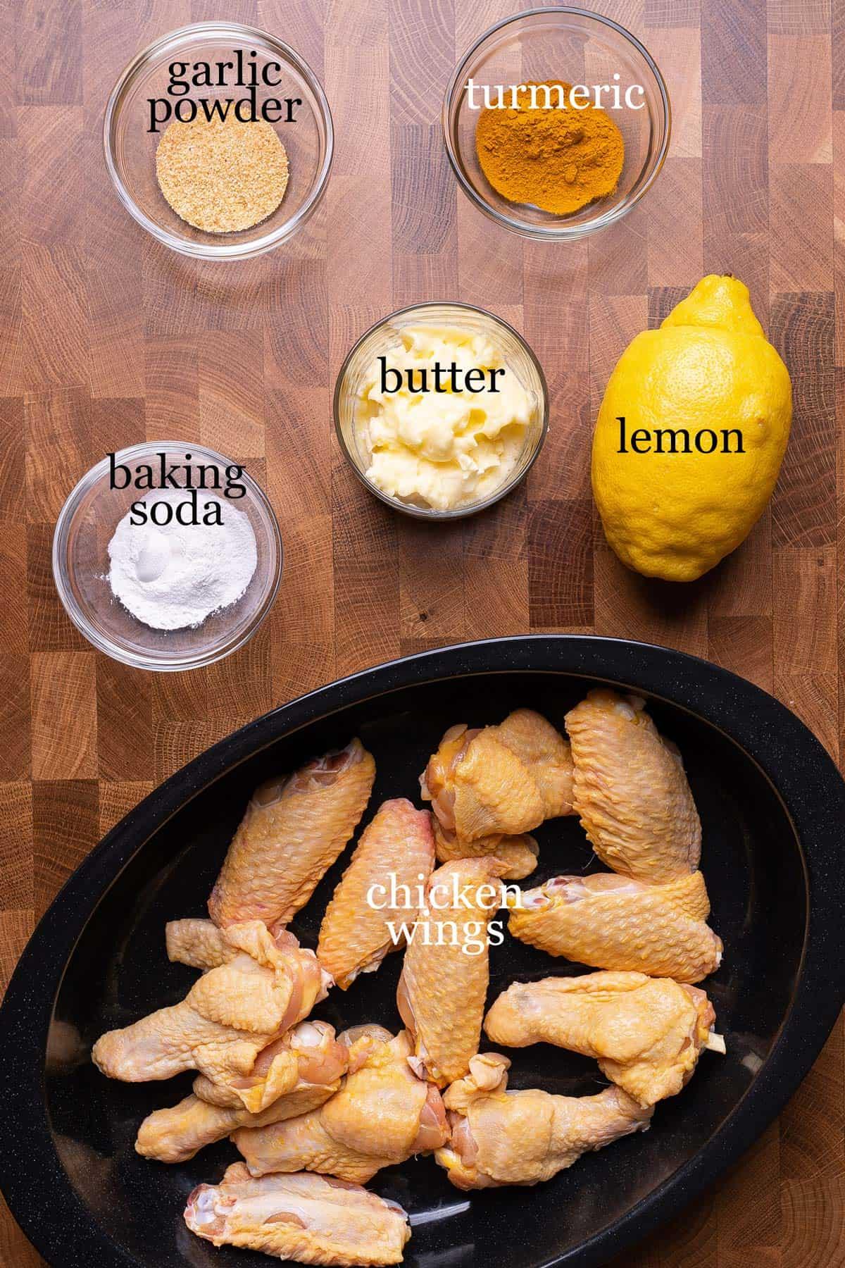 Ingredients to make crispy baked lemon pepper chicken wings