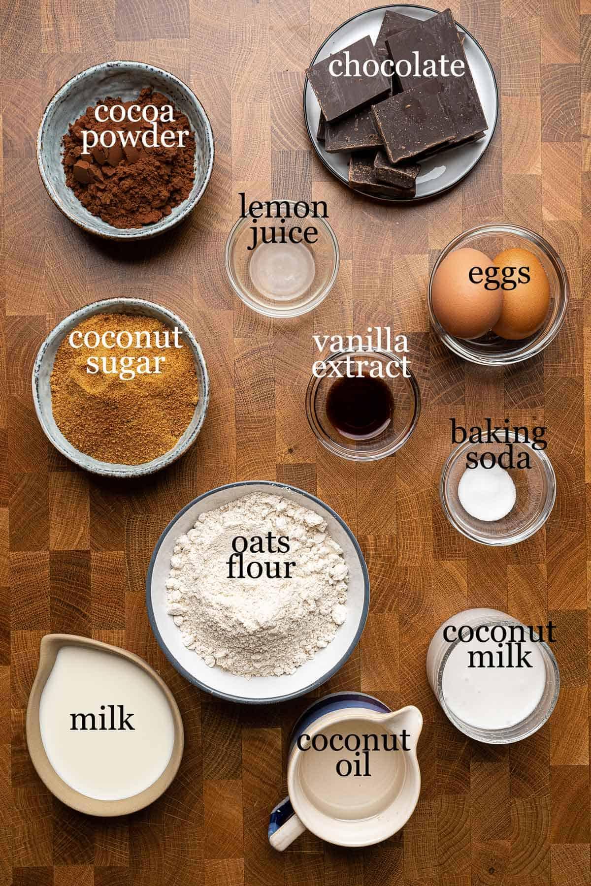 Ingredients to make healthy chocolate sheet cake