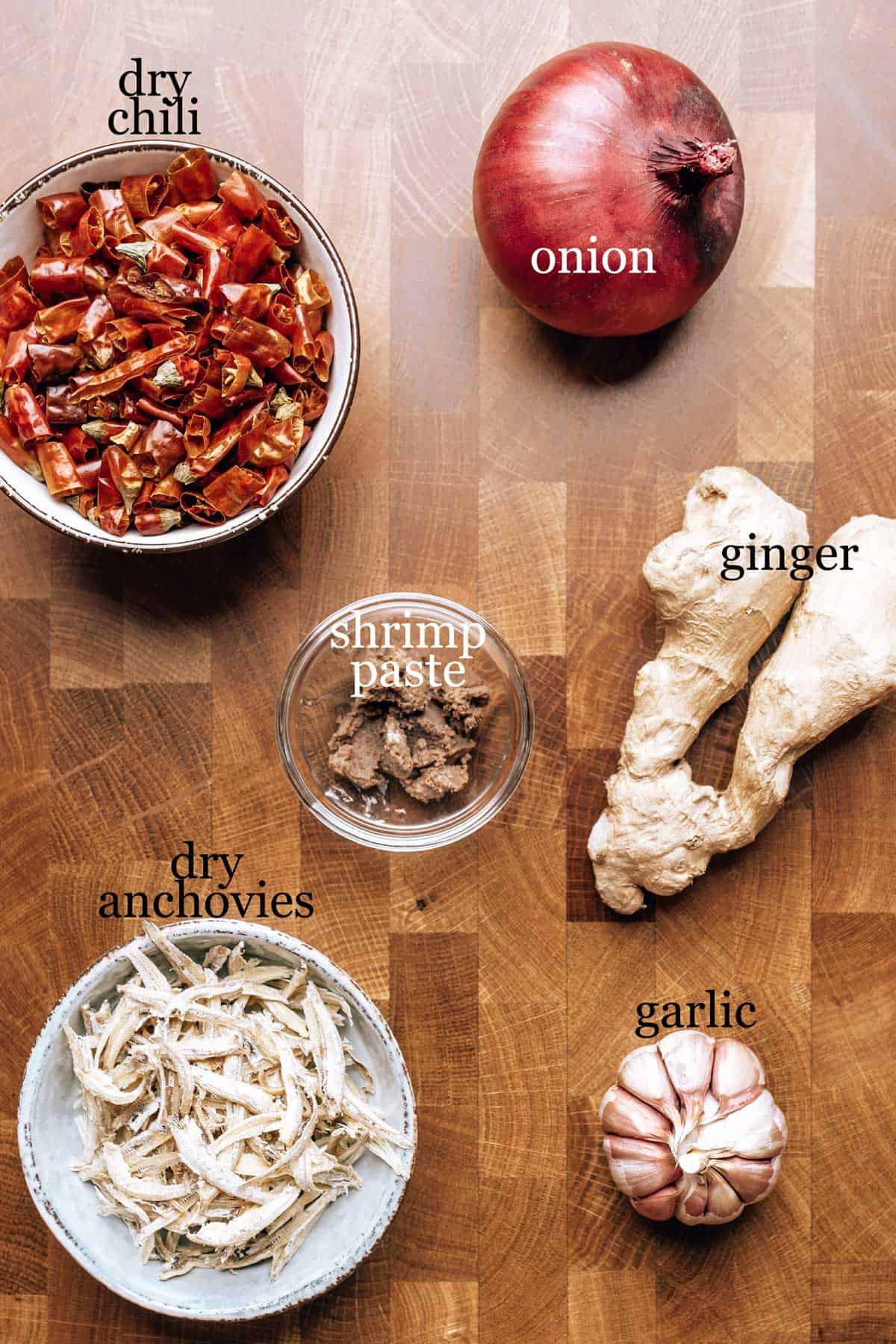 Ingredients to make sambal