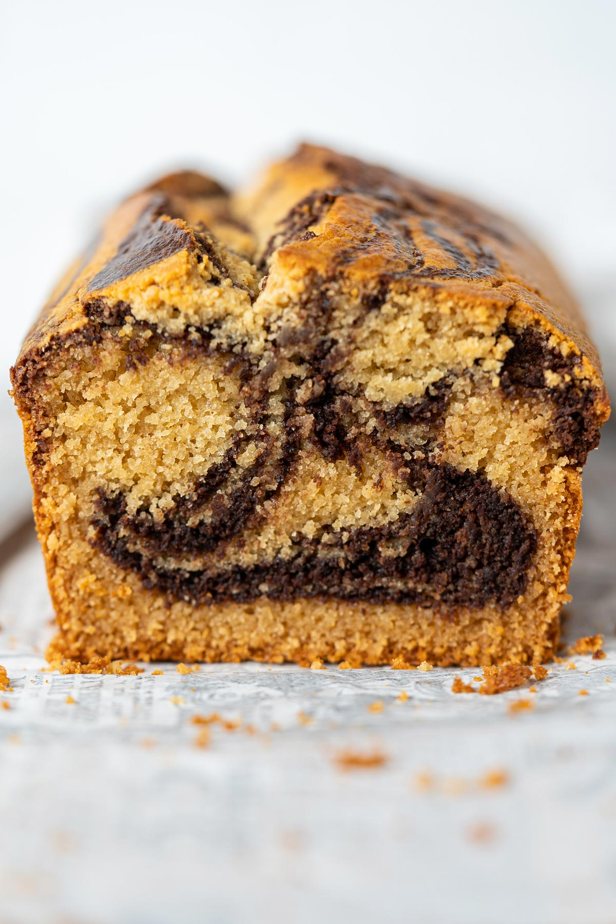 Close up texture of gluten free marble cake