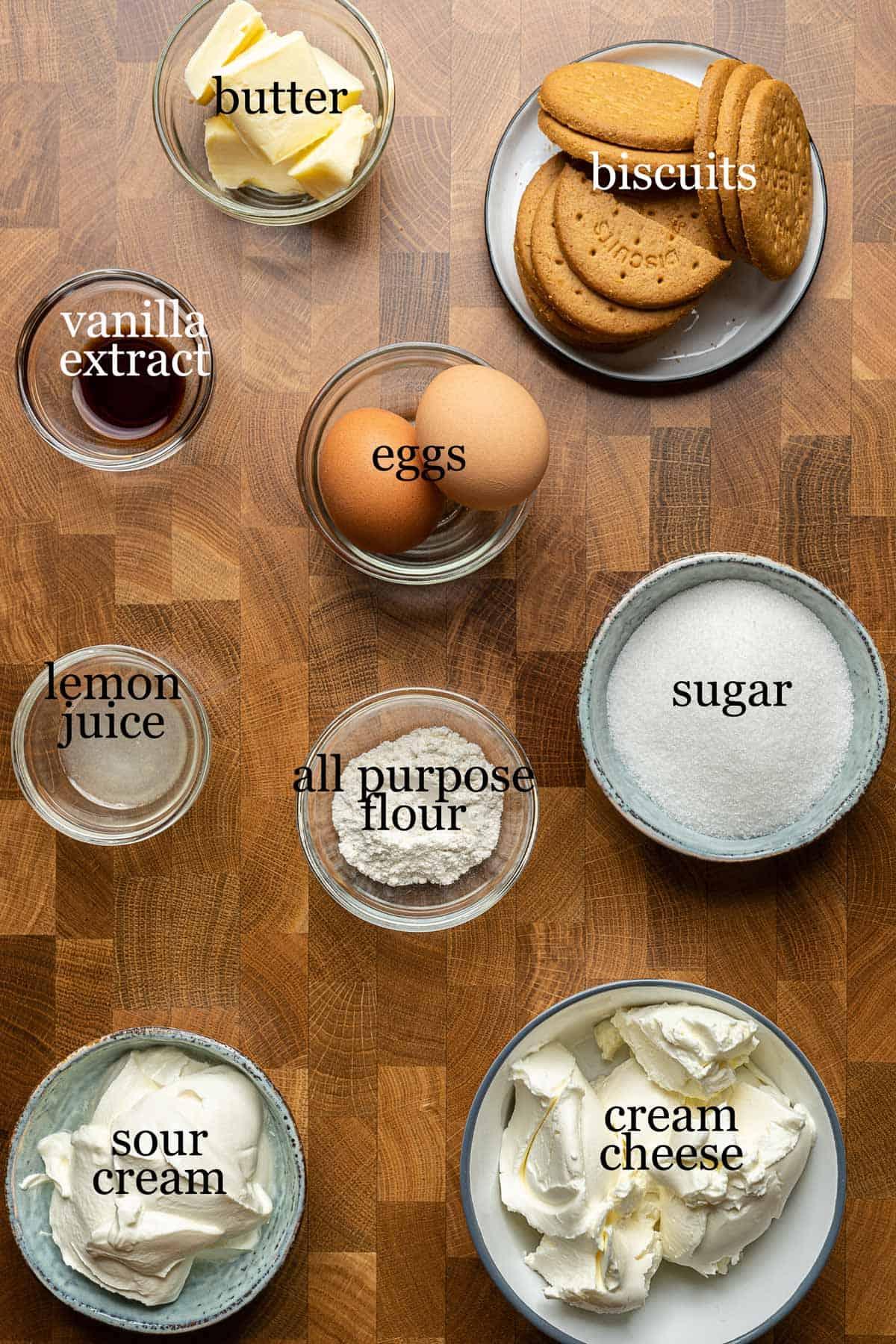 Ingredients to make easy mini cheesecakes
