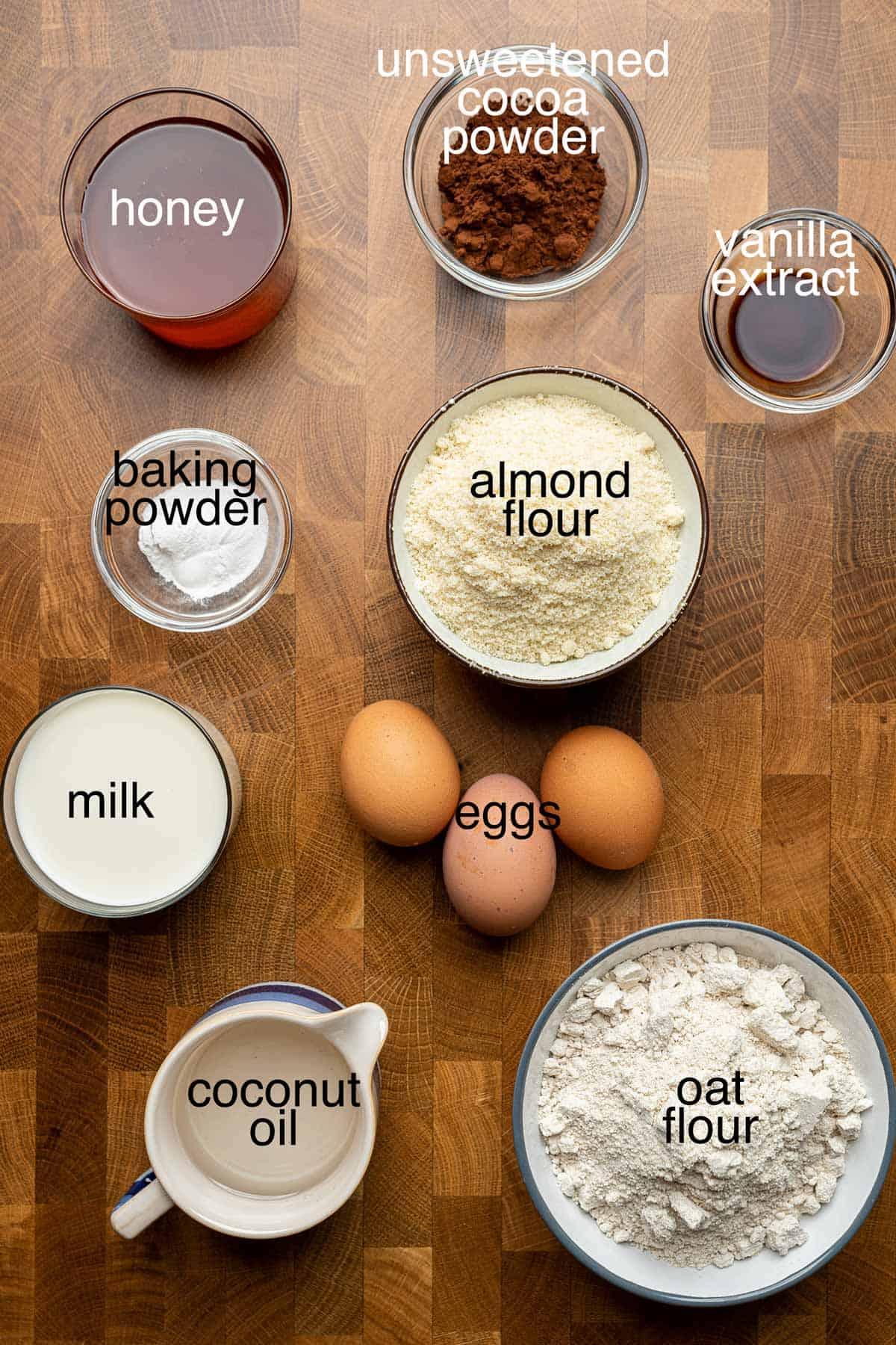 Ingredients to make gluten free marble cake