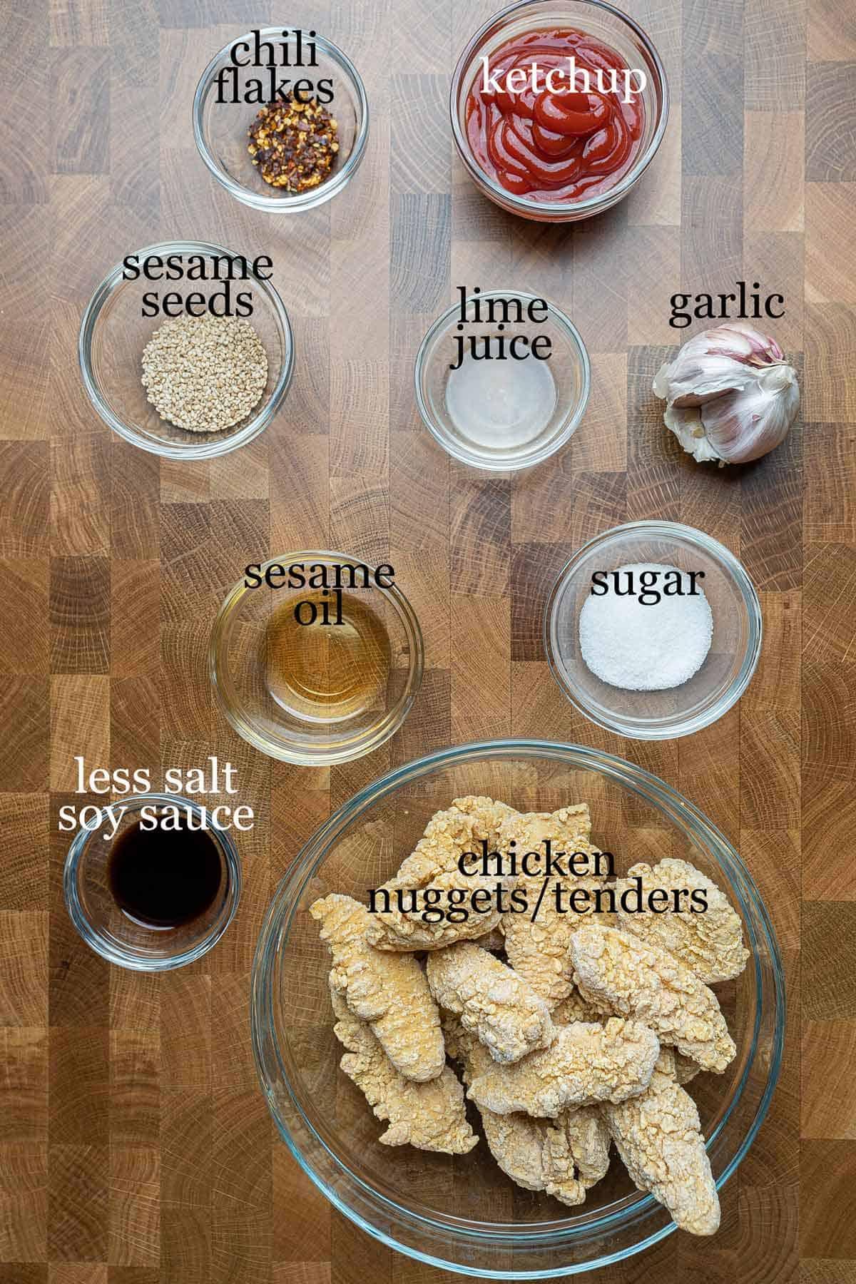 Ingredients to make crispy sesame chicken