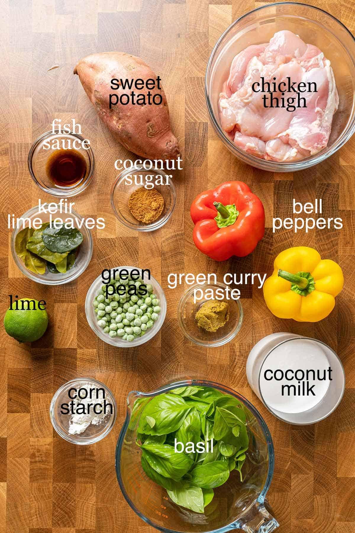 Ingredients to make individual basil chicken pot pie
