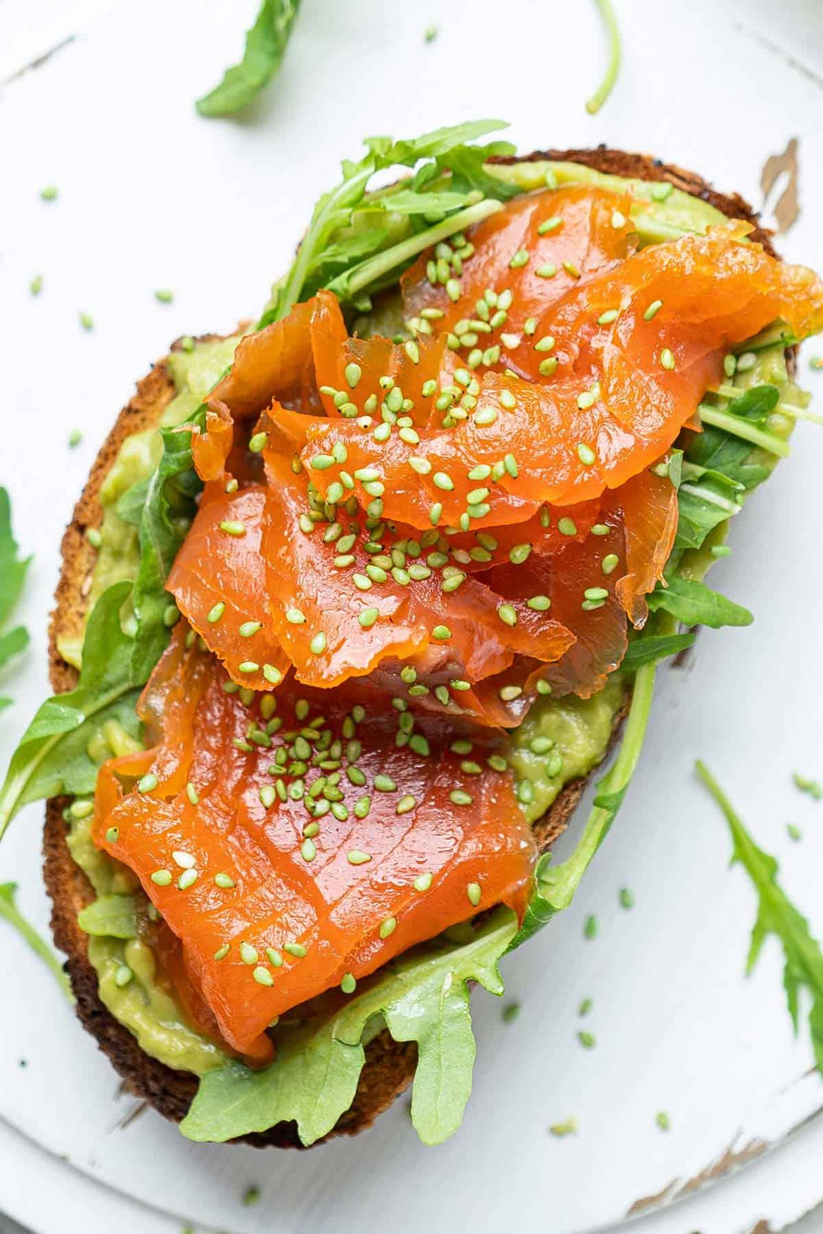 Salmon avocado sushi toast
