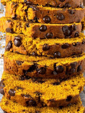 Slices of healthy chocolate chip pumpkin bread