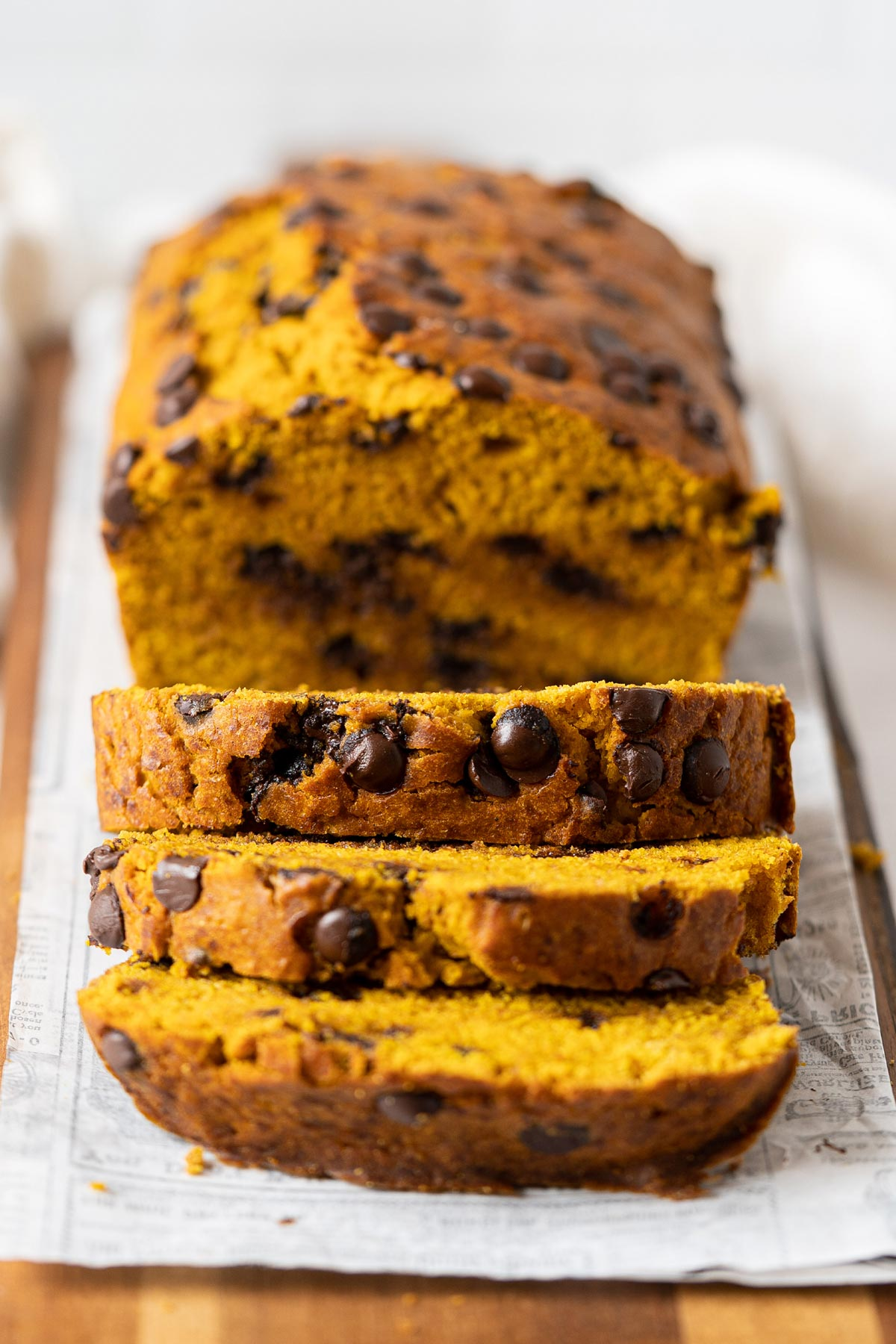 Sliced healthy chocolate chip pumpkin bread view from front