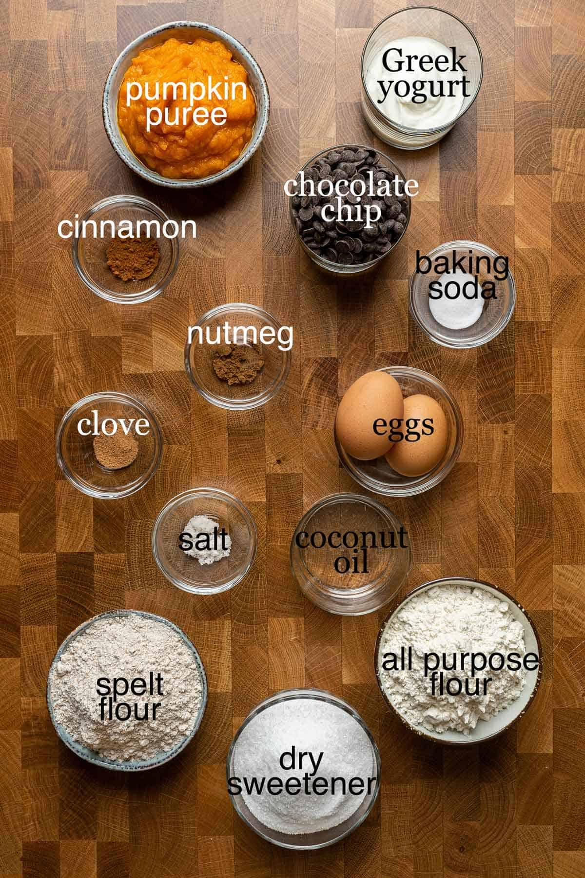 Ingredients to make healthy chocolate chip pumpkin bread